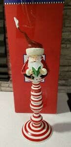 Department 56 Santa Taper Candle Holder Christmas Eve Dept 56 with Box HTF RARE