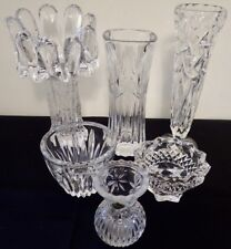 vintage lot of 6 heavy lead crystal and glass VASES & CANDLE HOLDERS LM42