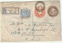 1907 POSTAL STATy ENV 3d & 4d DIES UPRATED & REGISTERED LONDON TO BALTIMORE USA