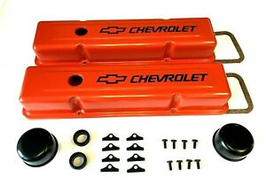 Chevrolet Steel Valve Covers Orange Tall Chevy Engine Dress Up Kit 283-400 NEW