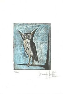 Bernard Buffet Old etching - Hand signed in pencil - owl