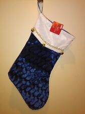 Blue and White  Christmas Stocking With  round bells