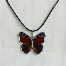 Real Insect Butterfly Necklace Pendant - Junonia almana (Red Peacock Pansy)