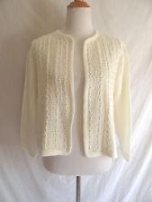 Vintage 60's Cream Ivory Open Weave Cardigan Sweater Sequins Tinsel Dottie Mann