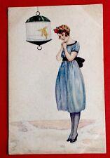 CPA. BOMPARD. Femme à Robe Bleue. Cage Oiseau. Art Déco. Charme. Glamour. 932-5