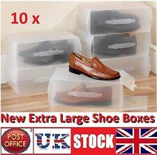 10x Large man Clear Shoe Boxes  Shoe Box Shoe Organiser Transparent Plastic