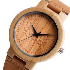 Brown Nature Wood Genuine Leather Strap Bamboo Deer Head Women Men Wrist Watch
