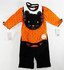 Halloween Infant Girl Orange Bodysuit Black Kitty Bib & Pants Set Bon BeBe 3/6M
