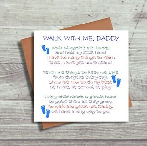 First Fathers Day Card - Walk With Me Daddy Boy - 1st Father's Day New Baby