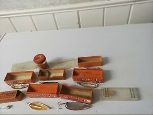 LOT(7) OF VINTAGE JOHNSON'S--SILVER  WEEDLESS SPOON--PIKE,TROUT FISHING LURES