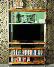 TV Media Unit - Industrial Pipe Solid Wood Shelving - Vintage Steampunk Style