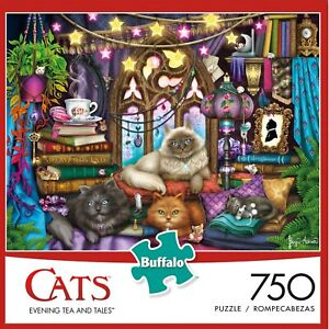 "NEW BUFFALO GAMES 750 PIECE JIGSAW PUZZLE CATS ""Evening Tea and Tales"""