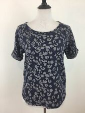 GAP Blue/Gray Leopard Animal Print Short Sleeve Sweatshirt Knit Top, Sz Small