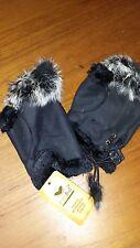 Winter Fingerless Leather Gloves Hand Wrist W/Rabbit Fur- BLACK NWT Free Ship