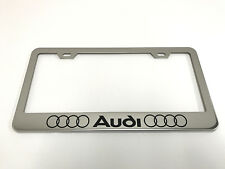 """1 STAINLESS STEEL CHROME Polished Metal License Plate Frame - 4 RING """"LOGO"""" LL"""