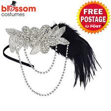 K577 Silver 1920s Headband Vintage Bridal Gatsby 20s Flapper Feather Headpiece