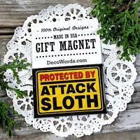 DecoWords Fridge Magnet Protected by Attack SLOTH Refrigerator  Joke Gag Gift