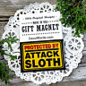 DecoWords Fridge Magnet Protected by Attack SLOTH Refrigerator  Joke Gag Gift