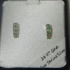 Earrings 24 KT Gold Over Sterling Silver Aqua Blue Vermeil Pierced Half Circle