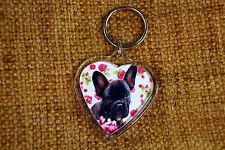 French Bulldog Keyring Dog Key Ring heart Frenchie Boy Girl Stocking Filler Gift