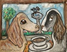 Coffee with a View Original 9x12 Painting Dog Art Vintage Style Pastel Saluki