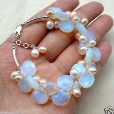 Fashion Opal & White Fresh Water Pearl Cluster Bracelets Bangle