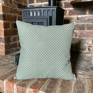 420. Handmade Spotty Sage Green Linen Cotton Cushion Cover. Various sizes