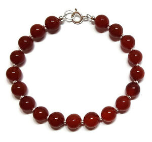 Carnelian Crystal Bracelet and Sterling Silver Ball Beads Yoga Meditation 7.5 in