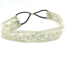 Lace Pearl Headband Great Gatsby Bridal Hairband Flapper Wedding Hair Accs Beige