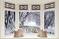 Huge 3D Bay Window Snow Tiger View Wall Stickers Mural Wallpaper S18