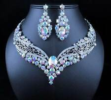 VINTAGE AB AUSTRIAN RHINESTONE CRYSTAL NECKLACE EARRING SET BRIDAL PROM N1872AB