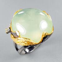 Vintage SET30ct+ Natural Prehnite 925 Sterling Silver Ring Size 8/R123971