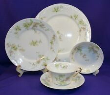 ANTIQUE THEO HAVILAND LIMOGES 5 pc SETTING SCHLEIGER 1240 BLANK 118A PINK FLOWER