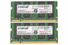 NEW Crucial 2X 2GB 2RX8 PC2-6400S DDR2 800MHz 200pin SODIMM RAM Laptop Memory