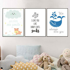3PCS Kawaii Love Quotes Poster Prints Kids Room Decor Wall Art Canvas Painting
