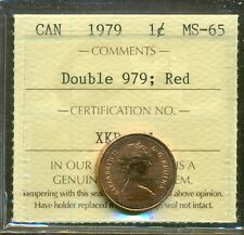 Double 979, 1979 Canada One Cent ICCS Certified MS-65; RED