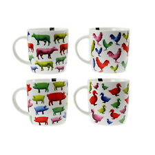 Bone China Mugs Set of 4 Animal Design Tea Coffee Home Kitchen Cups Office