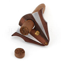 Xikar-Style Pocket Wood Cigar Cutter Scissor Stainless Steel Double Blades