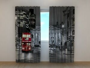 Window curtain London with Red Bus Wellmira drapes custom made 3D printed city