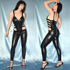 seitlich geschlitzter CATSUIT in Lack schwarz* S Ganzanzug/ wetlook Body Overall