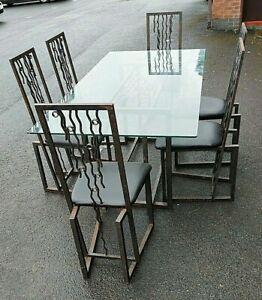 HEWITTS  GLASS 'WAVE' TABLE AND 6 CHAIRS. Perfect for upcycling, refinishing.