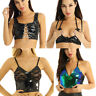 Women PU Leather Chains Crop Tops Cami Bralet Bustier Bra Vest Party Clubwear