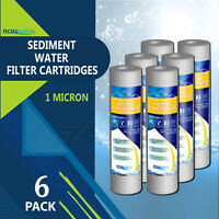 "6 Pack Sediment 1 Micron Water Filter Cartridges 2.5"" x 10"" for Reverse Osmosis"