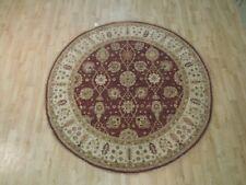 6' x 6' Maroon Chobi Floral New Traditional Round Handmade Rug