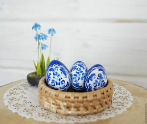 """Souvenir wooden Easter egg """"Gzhel"""" handmade, Russia, price for 1 piece"""