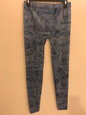 Women Faux Denim Slim Leggings Pants Blue Pocket Pattern