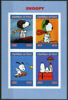 Chad 2019 MNH Snoopy Peanuts 4v IMPF M/S Cartoons Comics Stamps