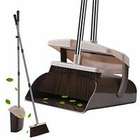Broom Dustpan Set with Lid Super Long Handle Lobby Broom with Dust Pan Teeth New