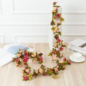 Artificial Rose Vine Hanging Flowers Garland 2.5m Ivy Rose Garland Wedding Decor
