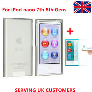 New Clear Transparent Case & Glass Screen Protector for iPod Nano 7th & 8th Gen
